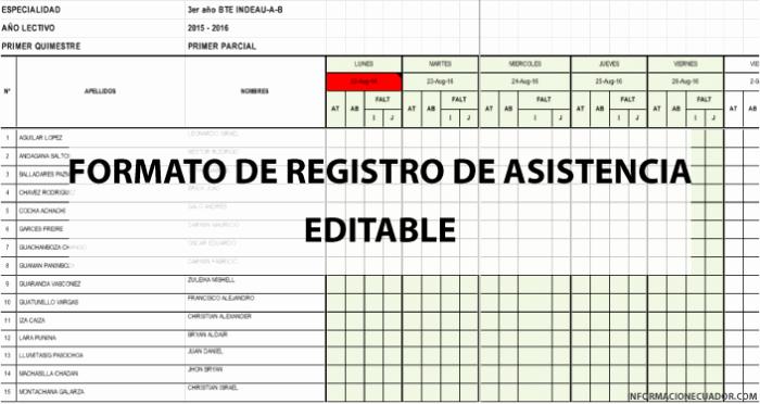 Formato Lista De asistencia Escolar New formato De Registro De asistencia Para Estudiantes