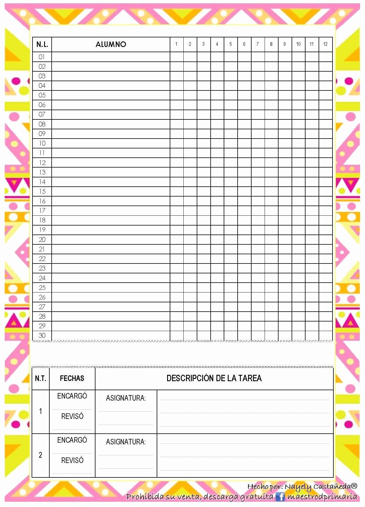 Formato Lista De asistencia Escolar New Nueva Agenda Ciclo 2015 2016 formatos Editables Motivos