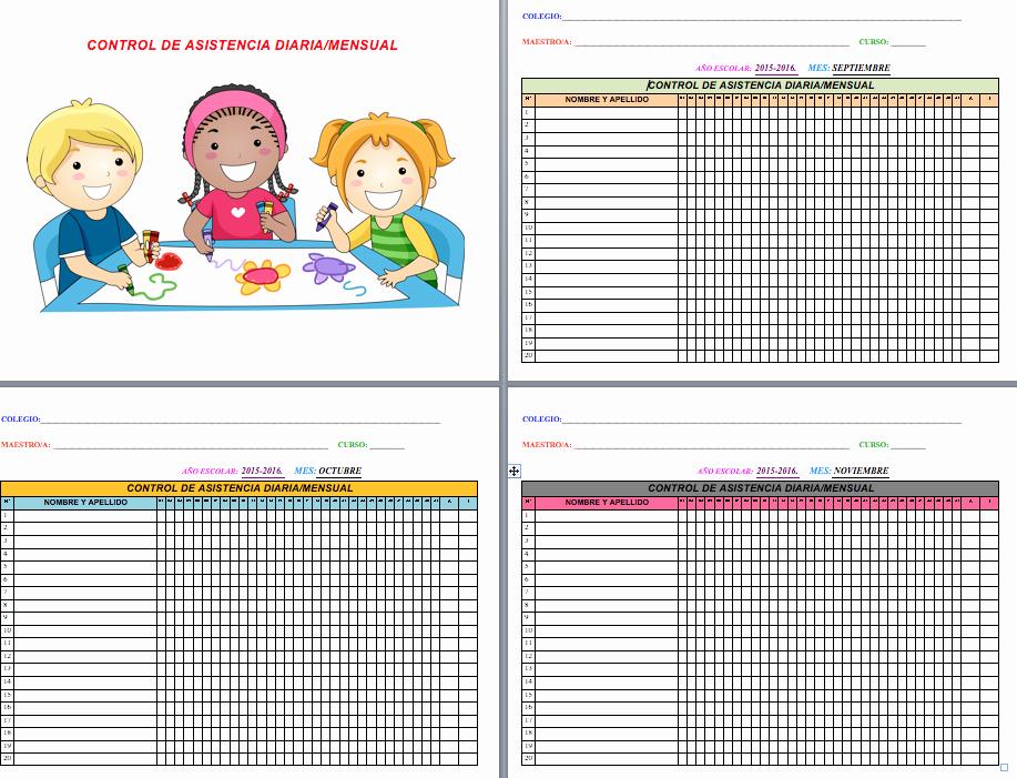 Formato Para asistencia De Alumnos Awesome Registro Para El Control De asistencia Diario Por Meses