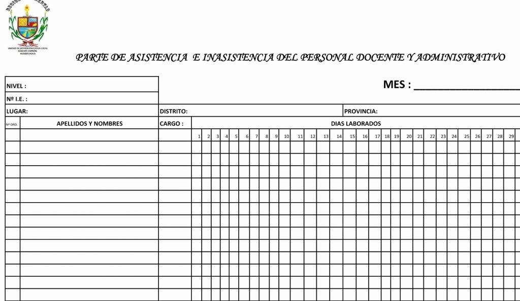 Formato Para asistencia De Alumnos Elegant formatos De asistencia Del Personal Docente Y