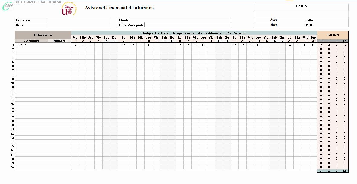 Formato Para asistencia De Alumnos Elegant Plantilla De Control De asistencia