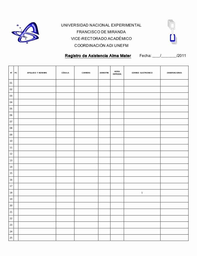 Formato Para asistencia De Alumnos Elegant Registro De asistencia 2011