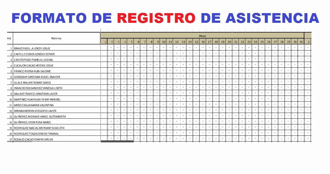 Formato Para asistencia De Alumnos Inspirational formato De Registro De asistencia Para Estudiantes