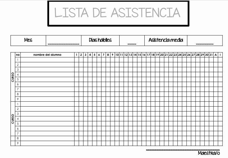 Formato Para asistencia De Alumnos Lovely Dos Listas De Control asistencia Editables En Power Point