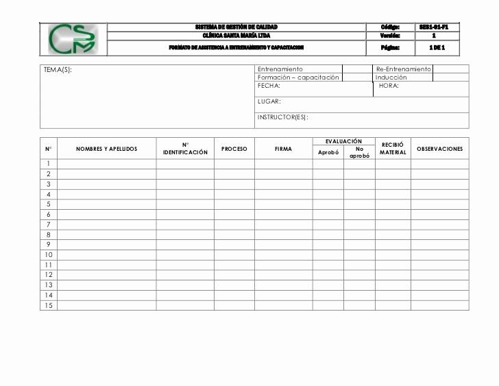 Formato Para asistencia De Alumnos Luxury Ses1 01 F1 formato De asistencia A Entrenamiento Y