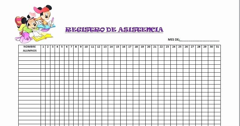 Formato Para asistencia De Alumnos New Recursos De EducaciÓn Infantil Registro De asistencia