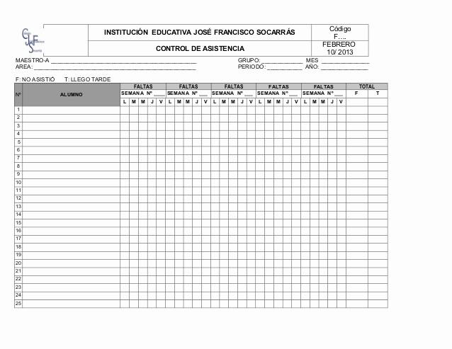 Formato Para asistencia De Alumnos Unique formato Control De asistencia Estudiantes