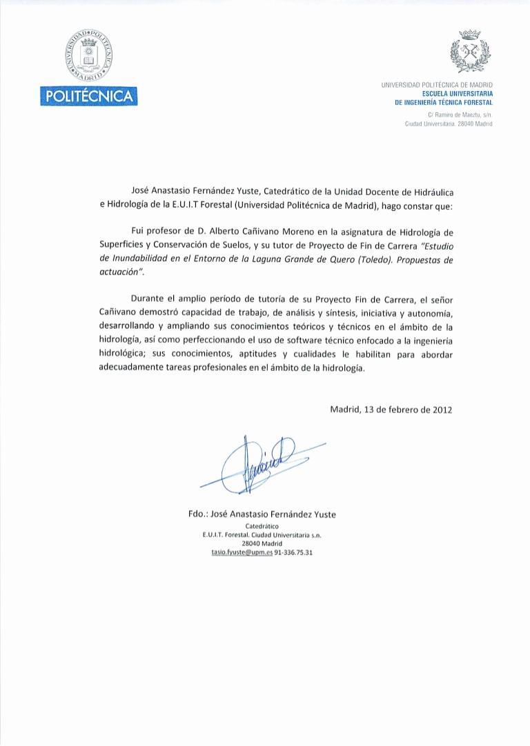 Formato Para Carta De Recomendacion Awesome Carta De Re Endación E U I T forestal Madrid