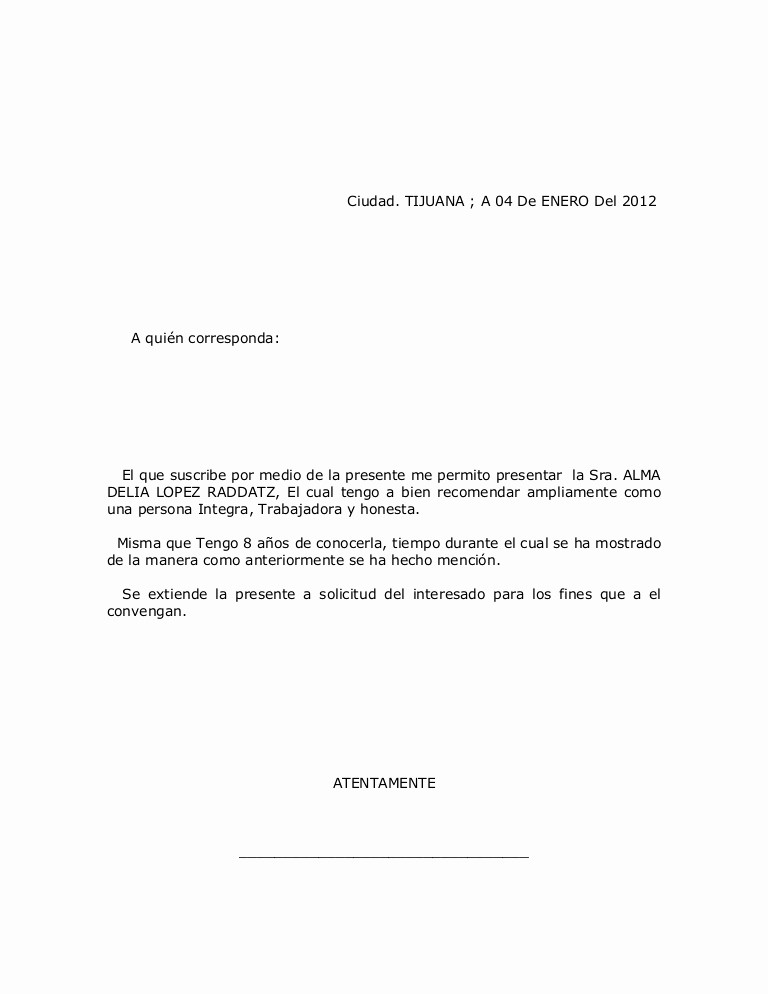 Formato Para Carta De Recomendacion Luxury Carta De Re Endacion