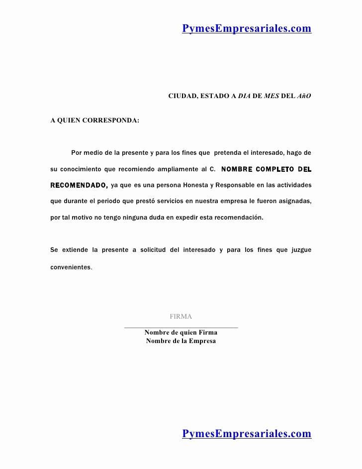 Formato Para Carta De Recomendacion Luxury formato Para Una Carta De Re Endacion