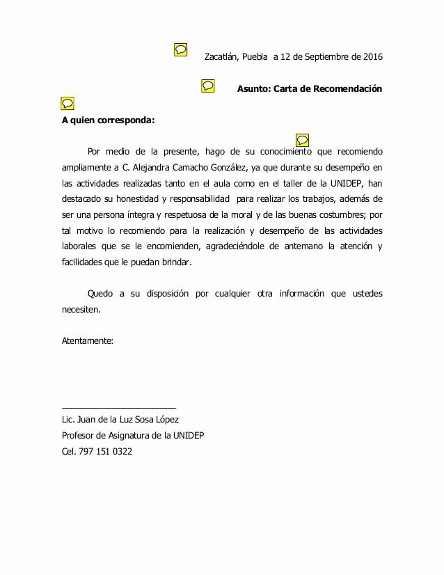 Formato Para Carta De Recomendacion Luxury Practica Carta De Re Endacion 3