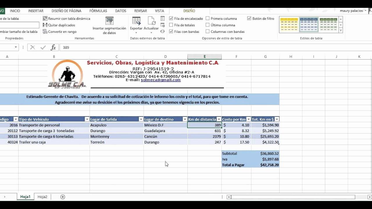 Formato Para Cotizaciones En Excel Elegant Cotización Simple En Excel sobre Transportación Terrestre