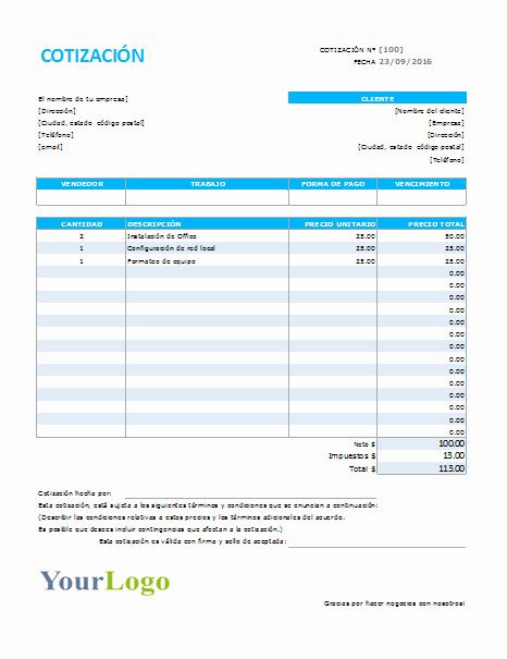 Formato Para Cotizaciones En Excel Elegant Plantilla De Cotización De Servicios Excel – Plantillas Gratis