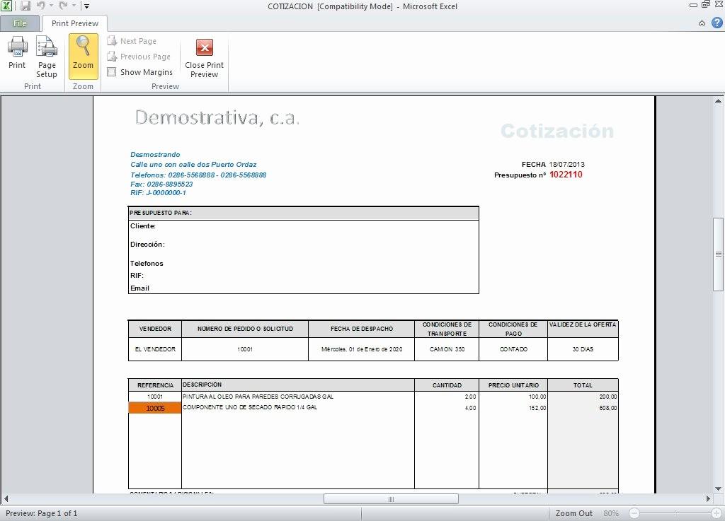 Formato Para Cotizaciones En Excel Inspirational Descargar formato De Cotizacion En Word