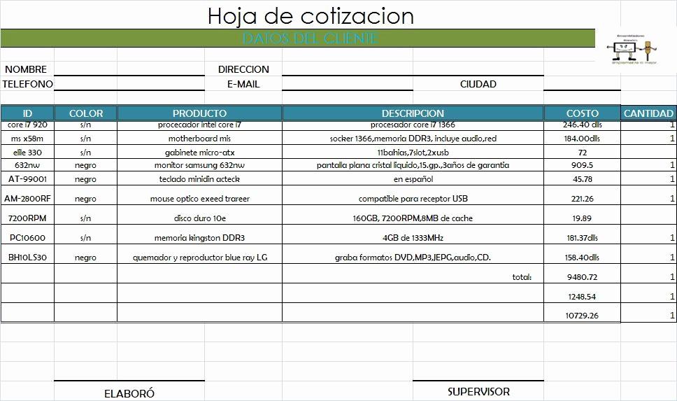 Formato Para Cotizaciones En Excel Inspirational formatos De Cotizaciones En Blanco formatos De