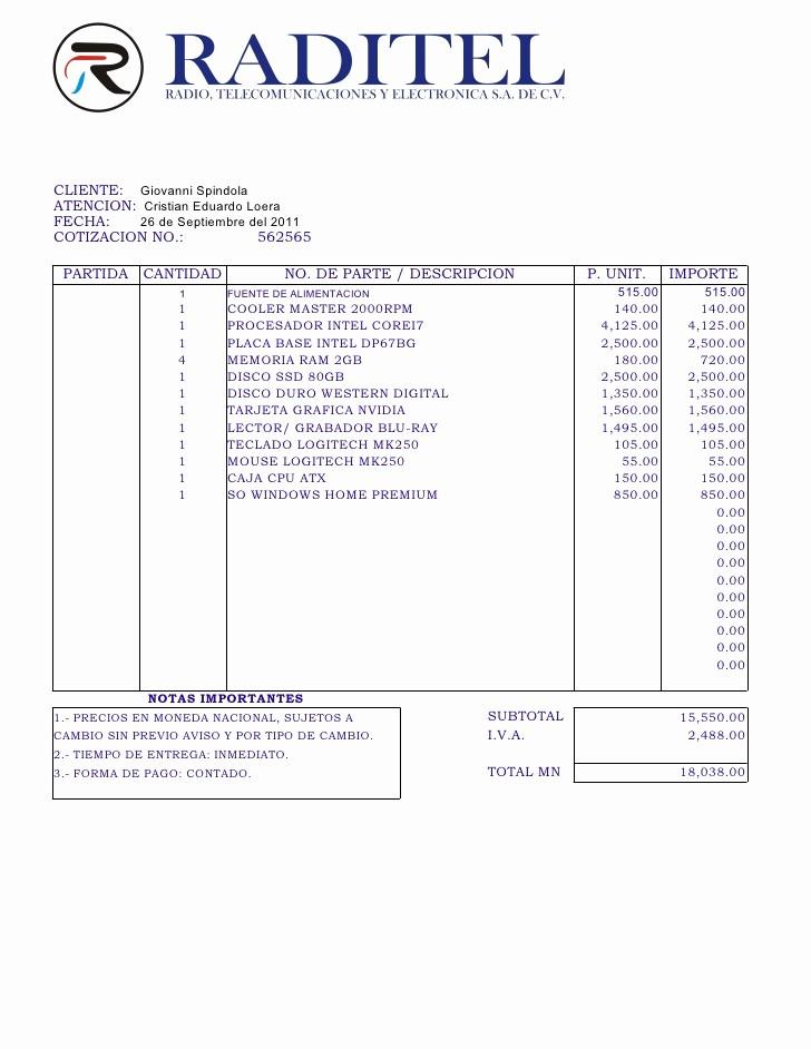 Formato Para Cotizaciones En Excel New Cotizacion Putadora Puebla