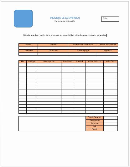 Formato Para Cotizaciones En Excel Unique formato Para Cotizacion Word Idealstalist