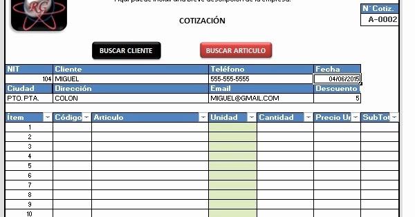 Formato Para Cotizaciones En Excel Unique Ramon Gracesqui formato Cotización Automática Con Macros
