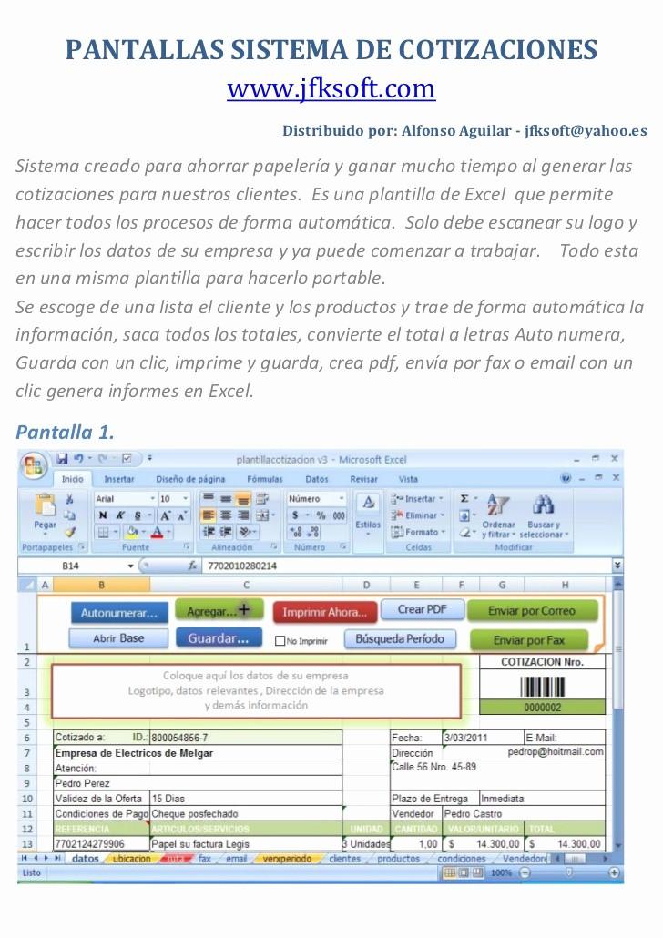Formato Para Cotizar En Excel Awesome Sistema De Cotizaciones Con Excel Crea Pdf Correo Fax