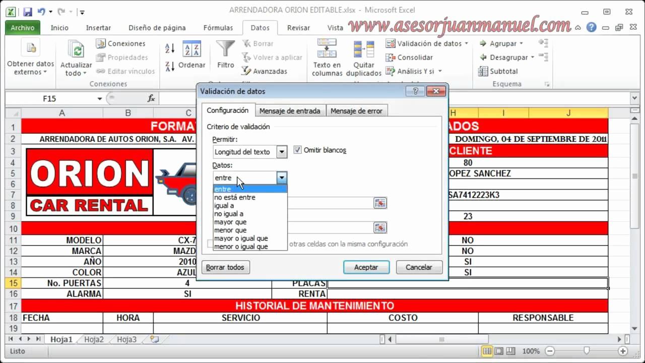 Formato Para Cotizar En Excel Beautiful Tutorial De Excel Validación De Datos asesor Juan