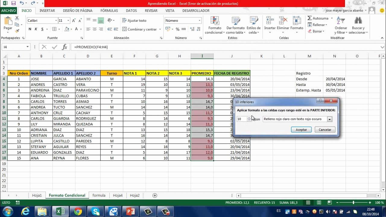 Formato Para Cotizar En Excel Fresh Tutorial Excel 2013 formato Condicional