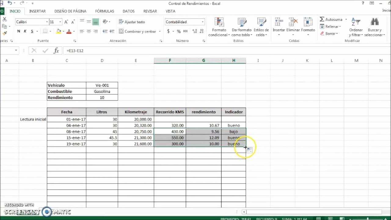 Formato Para Cotizar En Excel Luxury Control En Excel Para Llevar Consumos Y Rendimiento De