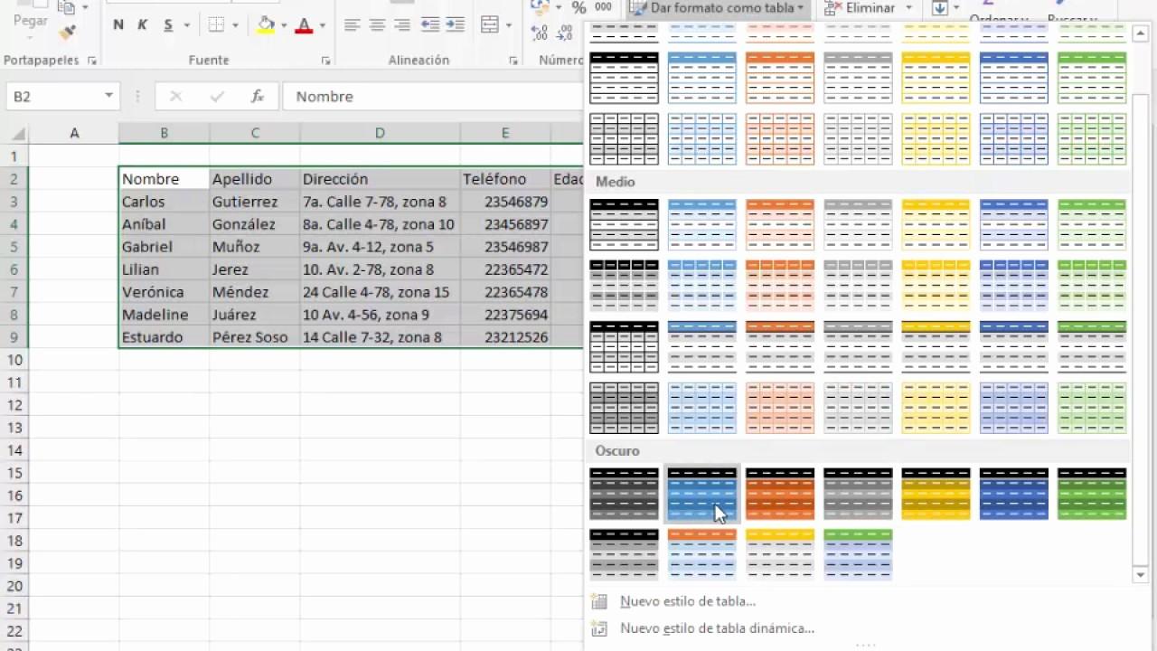 Formato Para Cotizar En Excel New Dar formato O Tabla Excel 2016 Principiantes