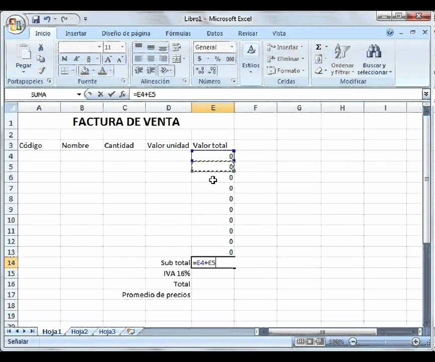 Formato Para Facturas En Excel Beautiful Introducción A Excel Ejemplo Factura