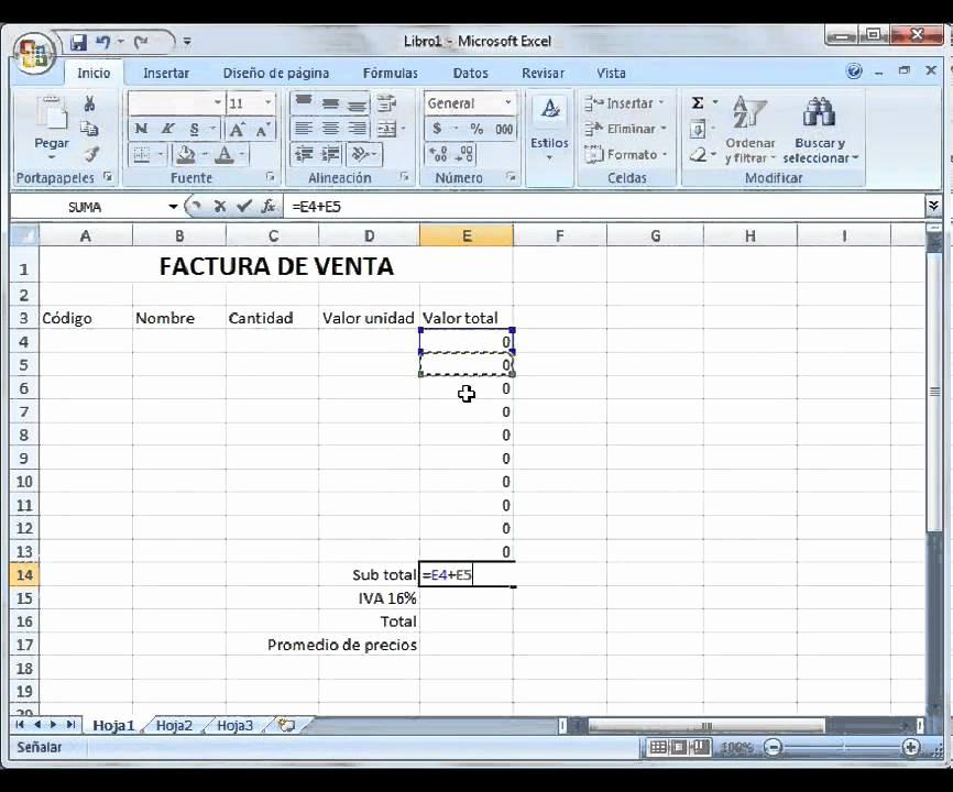 Formato Para Facturas En Excel Beautiful Introducción A Excel Ejemplo Factura