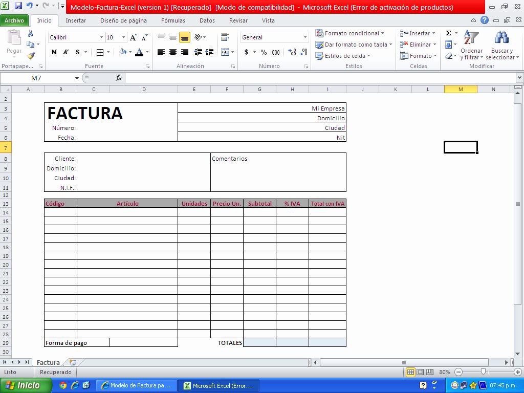 Formato Para Facturas En Excel Elegant Descargar Factura