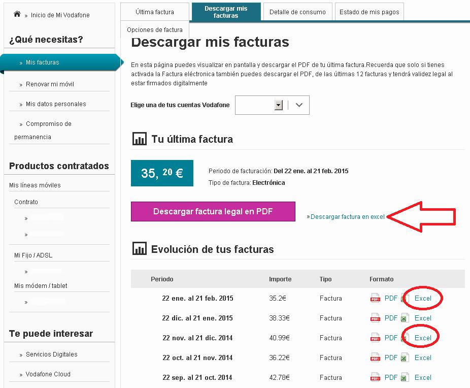 Formato Para Facturas En Excel Inspirational Descargar Facturas Y Detalle Consumo En formato Excel