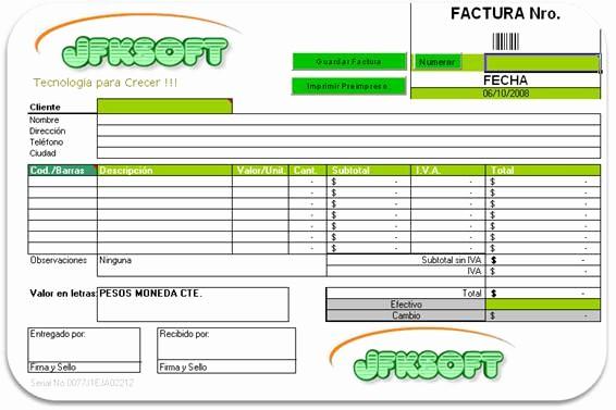 Formato Para Facturas En Excel Lovely Factura Excel