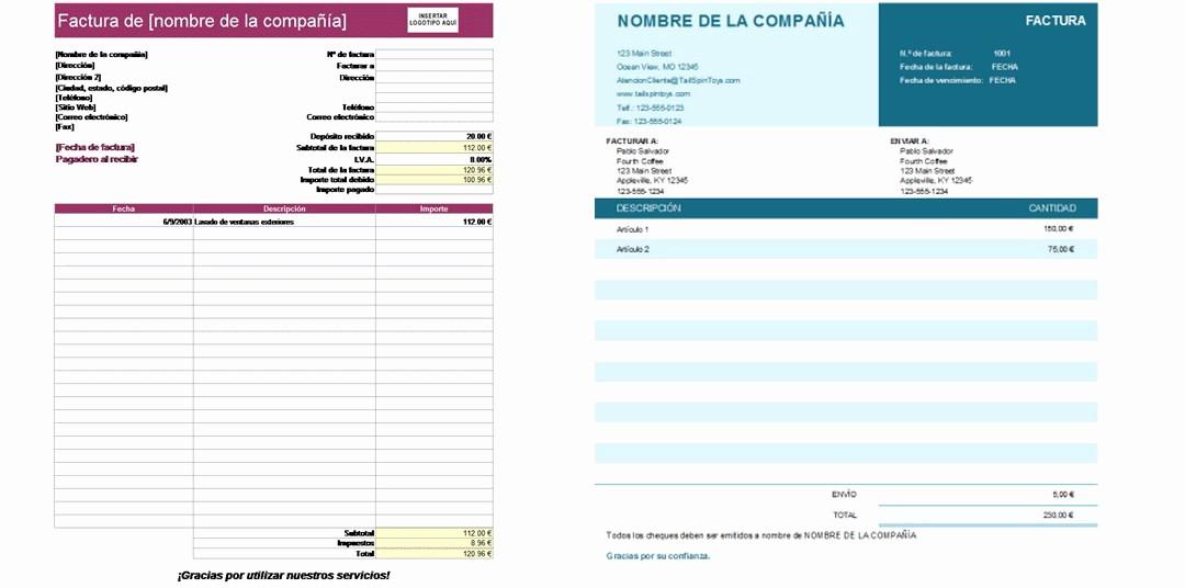 Formato Para Facturas En Excel Luxury Plantillas De Facturas De Excel Gratis Para Descargar