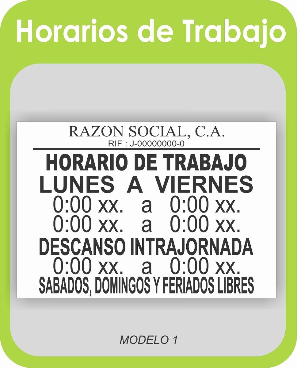 Formato Para Horarios De Trabajo Best Of Aviso Letrero Horario De Trabajo Laboral solo Impresión