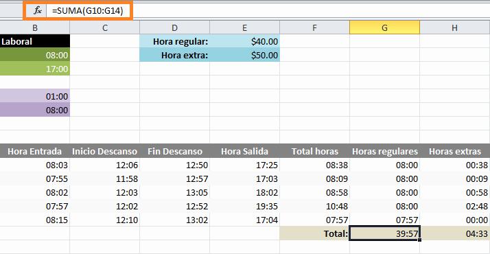 Formato Para Horarios De Trabajo Best Of Calcular Horas Extras En Excel • Excel total