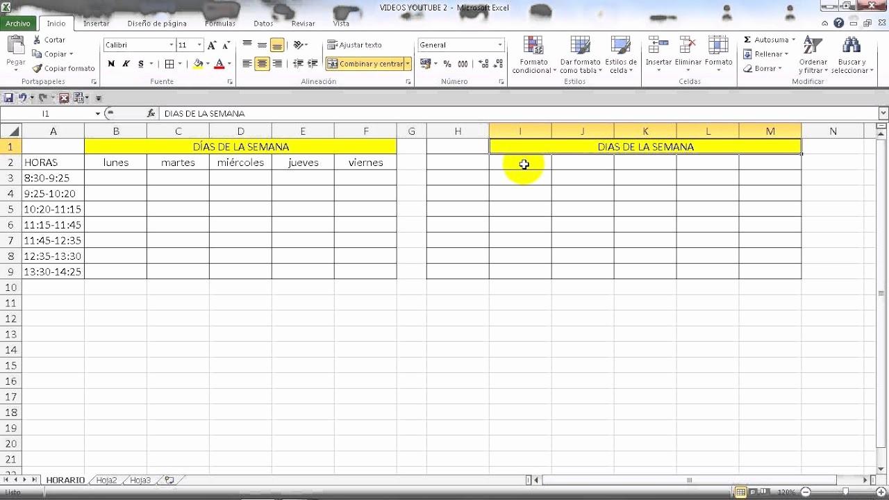 Formato Para Horarios De Trabajo Elegant Excel 2010 Básico CÓmo Hacer Un Horario Semanal