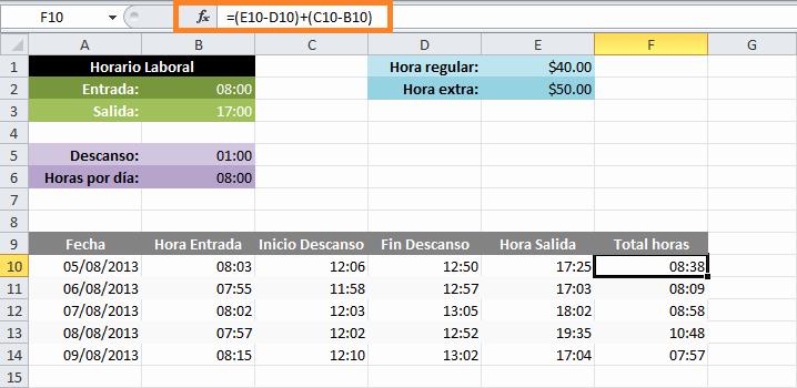 Formato Para Horarios De Trabajo Inspirational Calcular Horas Extras En Excel • Excel total