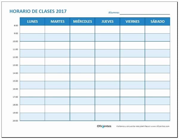 Formato Para Horarios De Trabajo Inspirational Horario De Clases Para Imprimir Descarga formato Editable