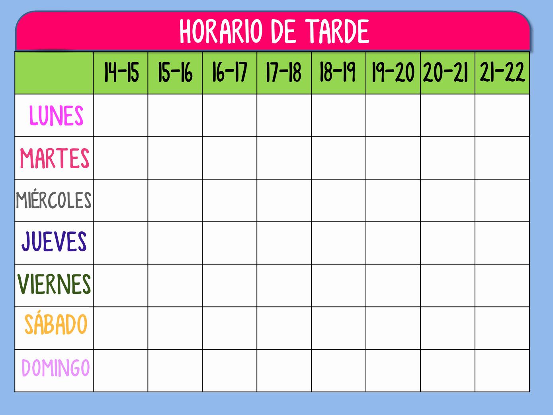 Formato Para Horarios De Trabajo Luxury Plantilla Horario De Tarde Para organizar Las Tareas De