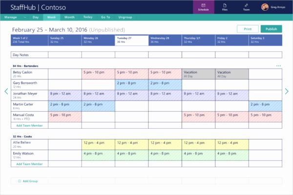 Formato Para Horarios De Trabajo New Microsoft Lance Staffhub Un Outil De Planification Pour