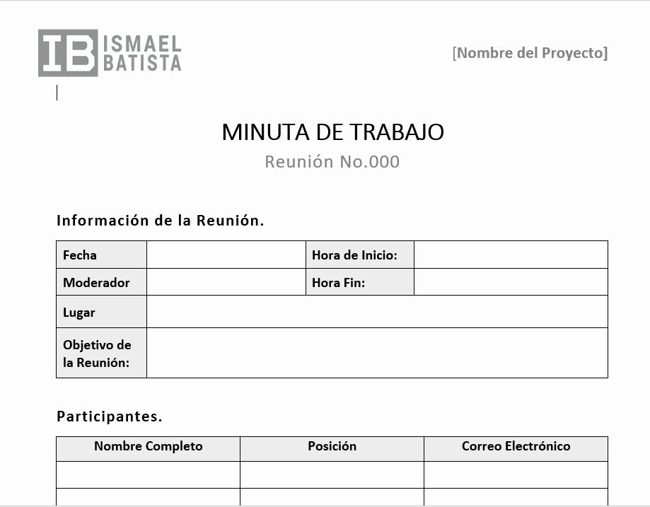 Formato Para Minuta De Trabajo Elegant Plantilla Word Minuta De Trabajo ismael Batista