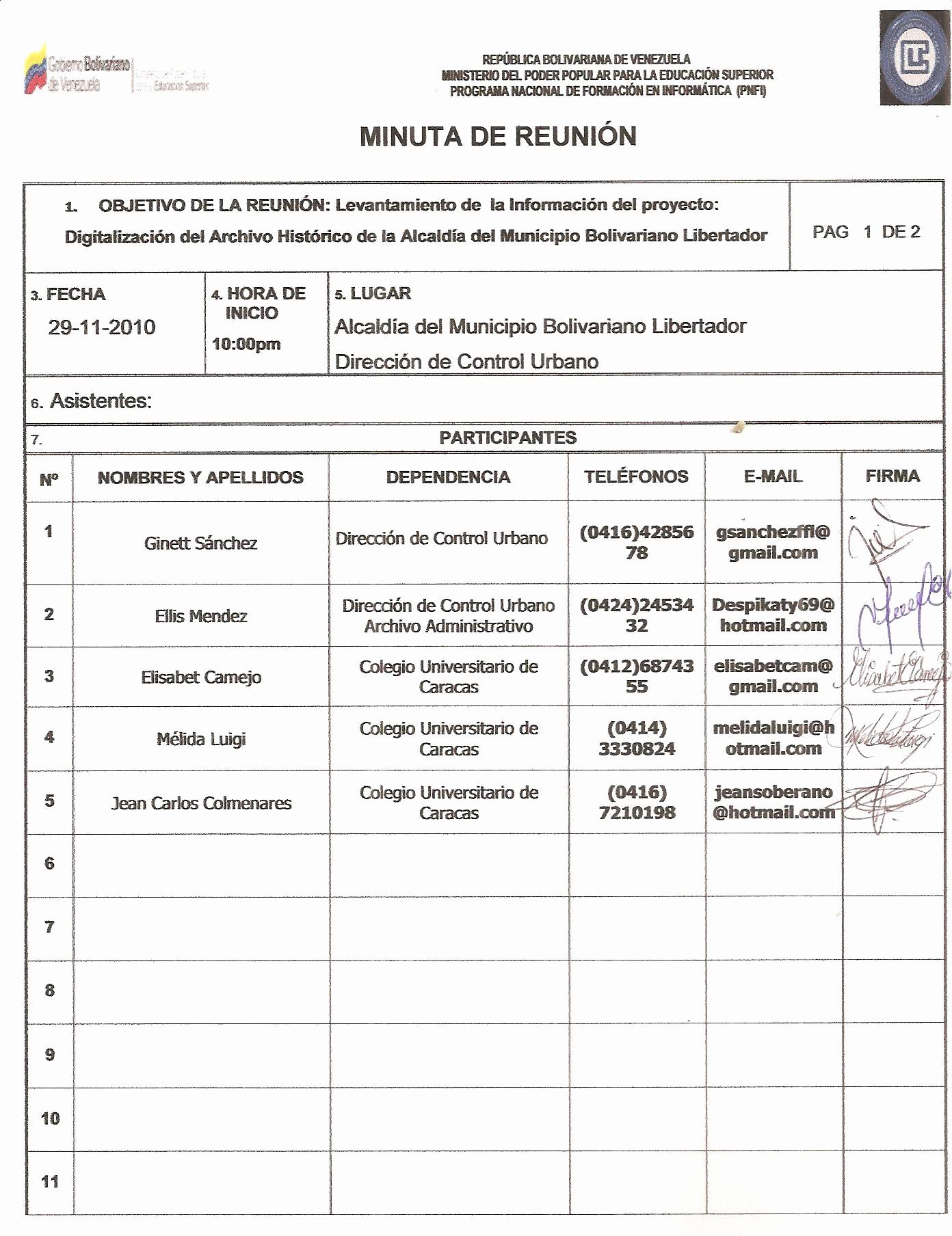 Formato Para Minuta De Trabajo Fresh Portafolio Proyecto Sistema De Indexación De Documentos