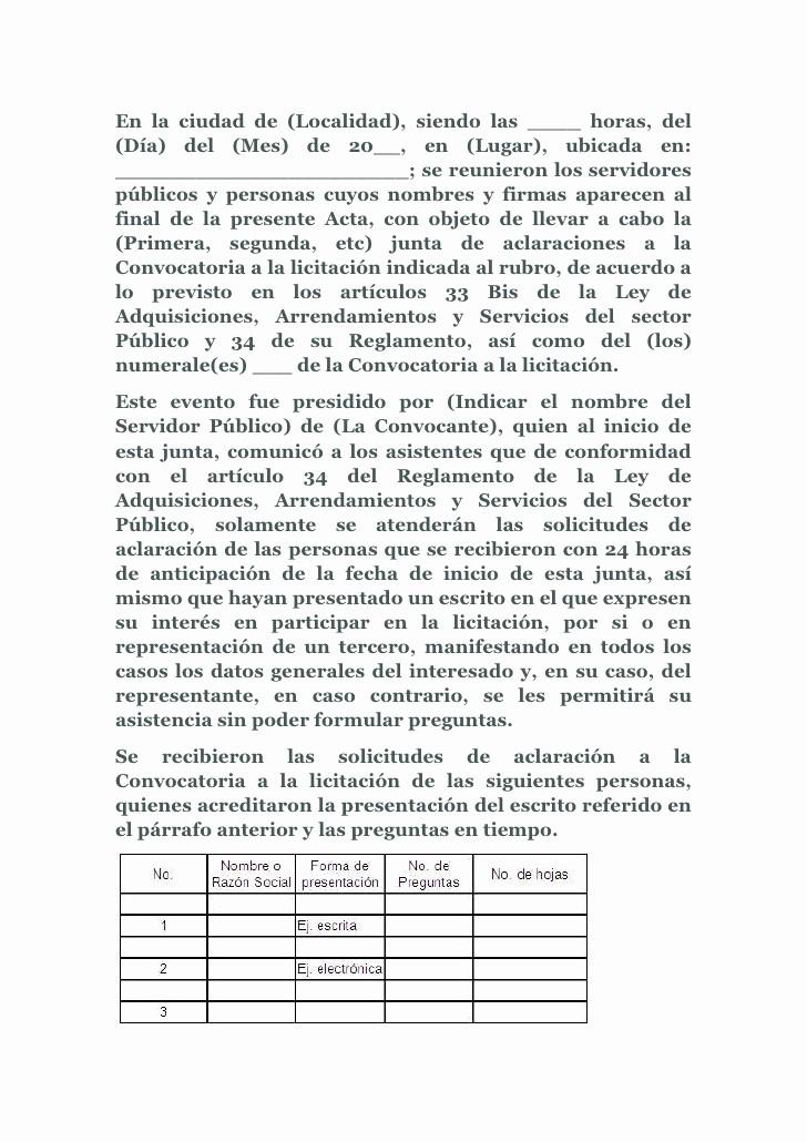 Formato Para Minutas De Juntas Best Of Modelo De Acta De Aclaraciones