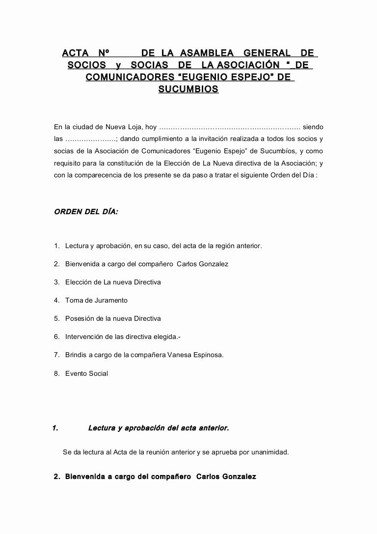 Formato Para Minutas De Juntas Lovely Modelo De Acta asamblea General Primera Eleccion