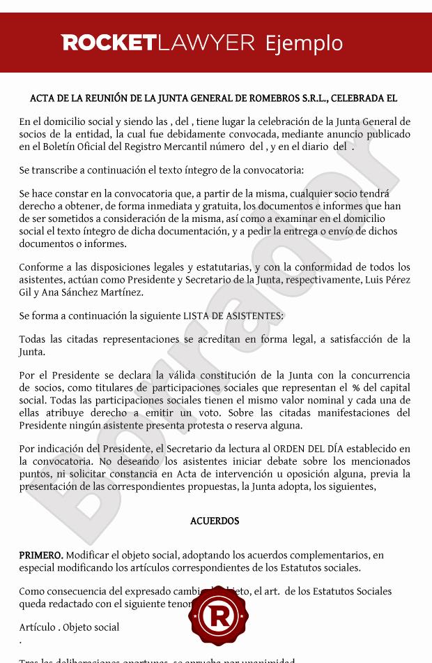 Formato Para Minutas De Juntas New Modelo De Acta Cambio De Objeto social