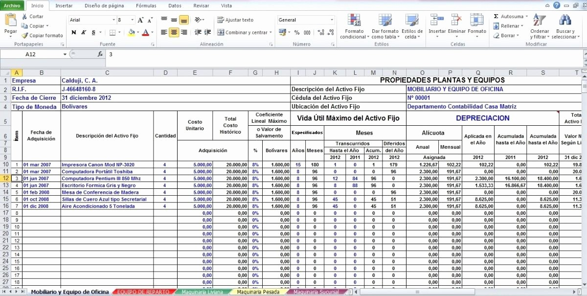 Formato Para Presupuesto En Excel Best Of formato En Excel De Calculo De Depreciacion Activos Bs