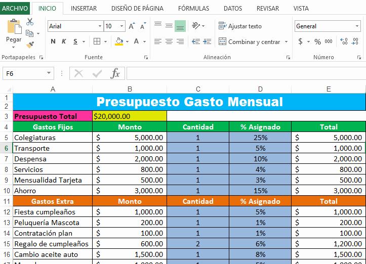 Formato Para Presupuesto En Excel Inspirational El Presupuesto Ejemplos Y formatos