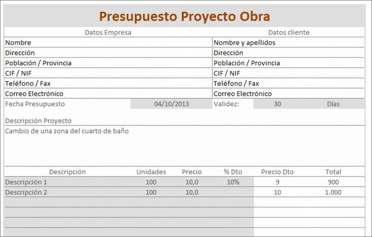Formato Para Presupuesto En Excel Inspirational Presupuestos Reformas Excel