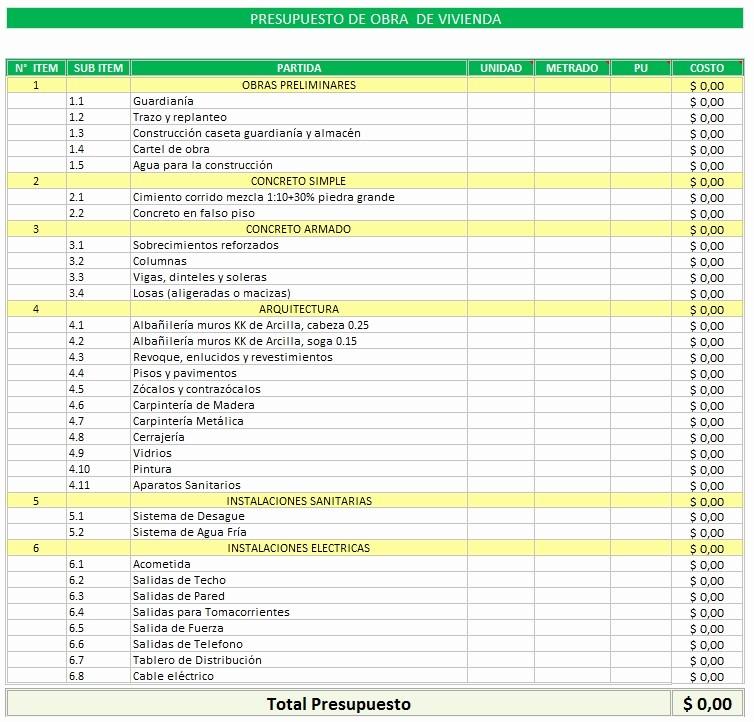 Formato Para Presupuesto En Excel Lovely Planilla De Excel De Presupuesto De Obra De Vivienda