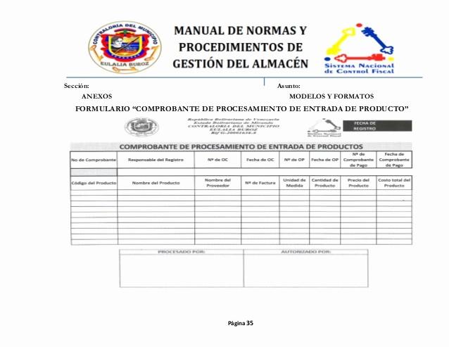 Formato Para Salida De Almacen Unique Manual De normas Y Procedimientos De Gestion De Almacen